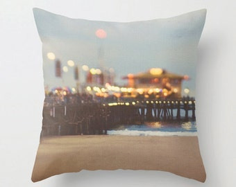 Santa Monica pillow cover, decorative beach pillow case, abstract, Santa Monica pier photo, California nursery decor, 18x18 pillow