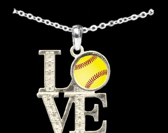 LOVE Softball Rhinestone Necklace