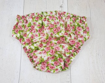 Girls nappy cover, floral baby pants, floral diaper cover, pink baby pants, girly baby gift, pink diaper cover, floral baby shower, babygirl