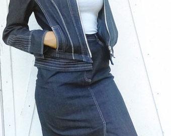 Vintage 2- Piece Set Denim Skirt and Blazer By Collection Miss Alliage