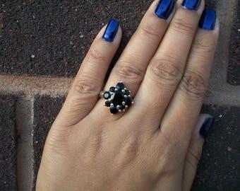 Vintage Inspired Design 925 Sterling Silver Black Onyx Cluster Ring Size M.