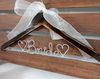 Rustic Wedding Hangers -Distressed Wooden Hangers With Personalized Wire - Wedding Photo Props - Dress Wedding Hanger - Gift Idea - Bride