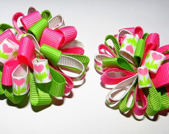 Set of Loopy Loopy Puff Bows Green and Pink