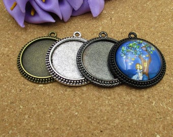 5pcs 25mm Round Cameo Cabochon Base Setting Pendants,1inch (25mm) Round Blank Findings Trays -4 Colors-b2003