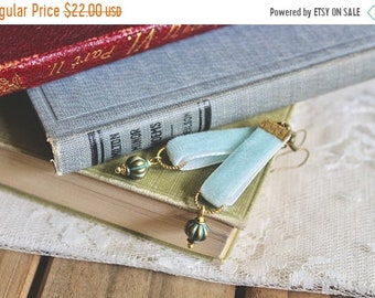 30% OFF SALE Powder blue velvet earrings with patina green lantern bead accent, Old Fashioned Love