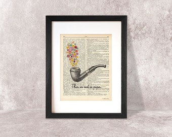 Rene Magritte tribute ceci n'est pas une pipe dictionary print-Magritte print-Magritte on book page-pipe print-NATURA PICTA-DP013