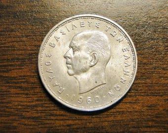 1960 Greece 20 Drachmai - Silver - Great Coin!