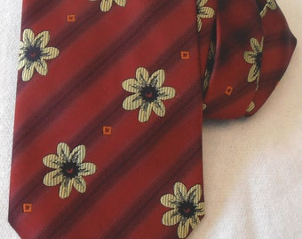 Vintage  red Woodstock tie with flowers mad in UK flower power
