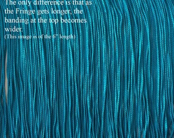 """Turquoise Chainette Fringe Trim ~ 11 Lengths for Dance Performance Costume, Home Decor. Available  2"""" to 36"""" Long.  """"Aribian Turquoise"""" Blue"""