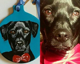 hand painted pet ornament, custom dog ornament, Christmas ornament, Valentine's Day gift, dog portrait, dog lover gift, mother's day gift