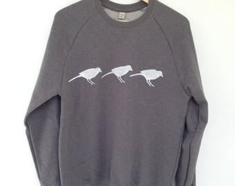 Three Little Birds Sweatshirt - low co2, Eco friendly, ethical, hand stencilled