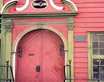 Door photography, Scandinavian wall art, Bergen Norway Wall Decor, Travel Photography, Salmon pink Green Home Decor, Old Door Print,