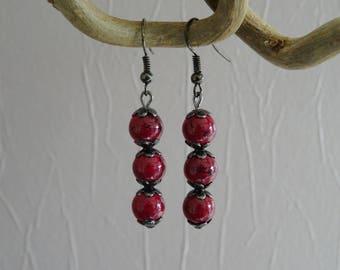 Earrings - black - plum - glass beads