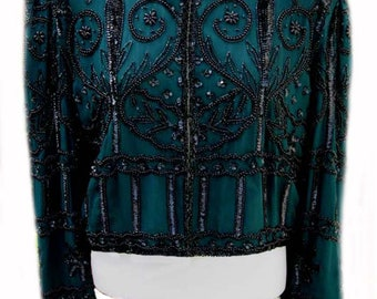 Vintage Jacket in Green Silk with Black Beading by Laurence Kazar New York - Fits Size Medium