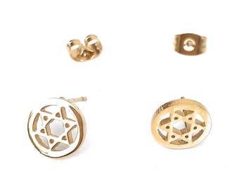 Star of David Earrings, Star of David Stud Earrings, Shield of David Earrings, Magen David Studs, Stainless Earrings, Golden Stud Earrings