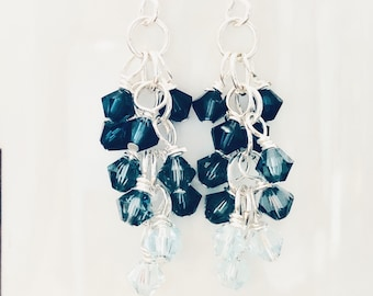 Dark Indigo Aquamarine Light Blue Ombre Swarovski Crystal Cluster Beads Earrings