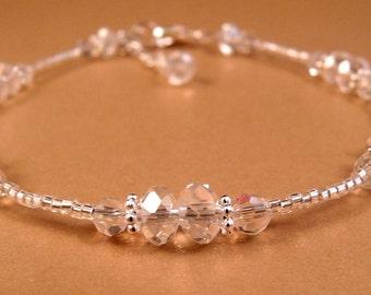 Crystal Ankle Bracelet Crystal Anklet Beaded Anklet Beaded Jewelry Crystal Jewelry Silver Jewelry