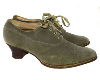 SOLD 1920s Grey Suede Shoes