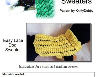 Knit Dog Sweater knitting pattern Easy '2 row' Lace design Downloadable PDF