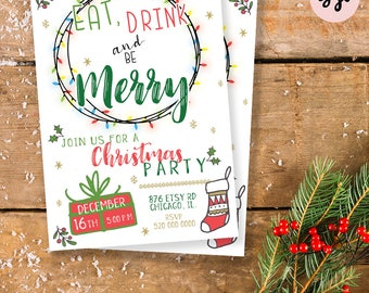 CHRISTMAS PARTY INVITATION, holiday party invite, christmas invite, holiday invitation, winter invitation, christmas printables