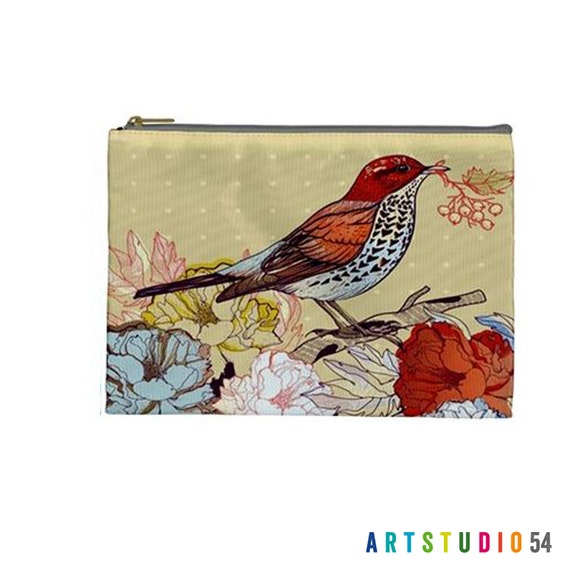 """Floral Bird Pattern on a Pouch, Make Up, Cosmetic Case Travel Bag Pencil Case - 9"""" X 6"""" -  Large -  Made by artstudio54"""