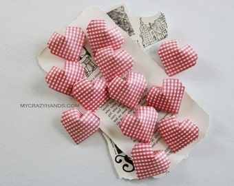 12 origami balloon hearts || bridal hearts || red plaid wedding heart favors || | origmi gift for her -red plaid