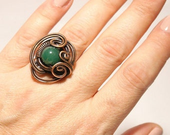 Jade Ring - Gemstone Ring - Wire Wrapped Ring - Copper Ring - Gift For Her - Wire Wrapped Jewelry Handmade - Jade Jewelry