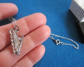 Vintage 1960s Sterling Silver NOS Necklace No.5 with Harp Charm Pendant New Old Stock