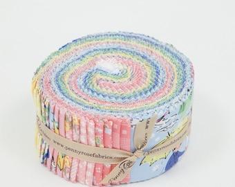 Jelly roll Fabric-Mae Flowers 2.5 Inch Rolie Polie 40 PCS- Riley Blake