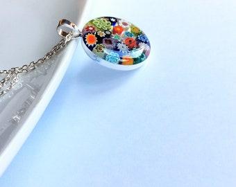 Multicolour Murano glass millefiori pendant medium