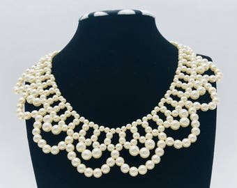 Vintage 1930s Wedding Formal Faux Pearl Collar Necklace.