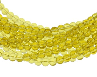 Clear Dark Yellow 6mm Round Glass Beads - Full 16 inch strand - Approximately 72 beads