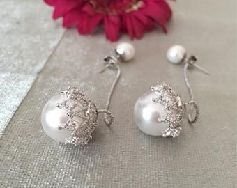 Elegant Pearl Earrings/4 in 1/925 Silver needle/wedding/gift