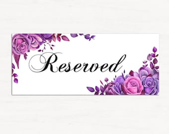 Wedding reserved sign template Purple wedding Reserved seating