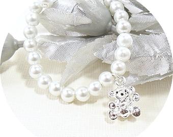 Teddy Bär Armband, Kleinkind Schmuck, Kinder Schmuck, Armband, Perlen Teddybär Mädchen Armband Armband Bettelarmband