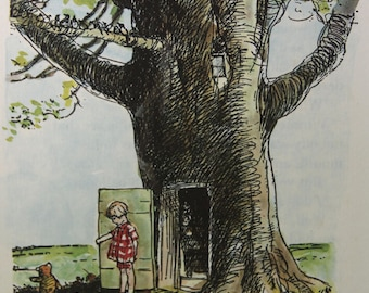"Christopher Robin and the Tree - Vintage print from ""Winnie the Pooh and Some Bees"" by A.A. Milne, c.1975"