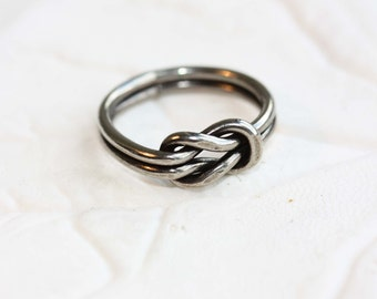 Knot Ring Silver, Silver Knot Ring, Silver Love Knot, Love Knot Ring, Nautical Knot Ring, Knot Ring, Silver Band Ring, Size 4,5,6,7