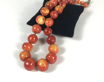 Graduated Apple Coral Necklace
