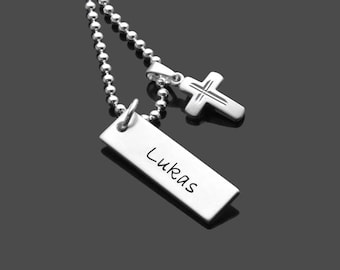 Name tag engraving BE BLESSED 925 Silver Chain confirmation communion necklace