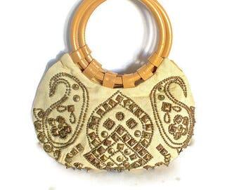 Vintage Moyna Purse Brass Studded Ring Handles Great Boho Look