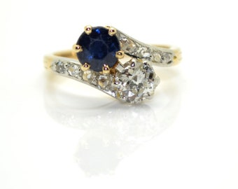 Ring antique you and me, Sapphire and diamonds