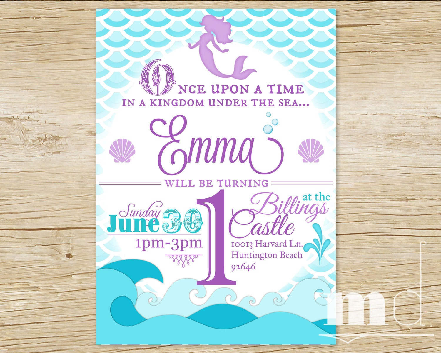 Mermaid Birthday Party Invitation Little Mermaid Birthday