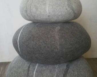 Good Felted Wool Stone   Floor Cushions   Floor Pillows   Set Of Three   Pouf   Awesome Ideas