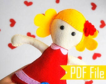Doll Rag Pattern, Molly Rag Doll Sewing Pattern ,pdf Pattern, Diy Pattern, Softie Rag Doll Toy  Instant Download A493