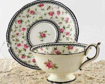 Antique England Coalport A D 1750 Porcelain Teacup & Saucer 8069 Scallop Hand Painted Chintz Pink Roses w Black Trim Crown Mark 1891-1919
