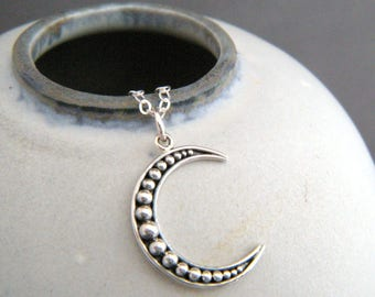 sterling silver filigree crescent moon necklace granulated beaded celestial charm astrology modern pendant simple jewelry gift for her