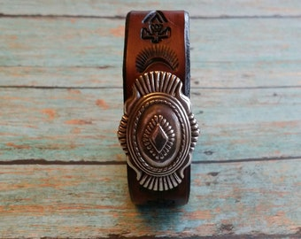 Yucca Leather buckle Cuff, Southwest leather cuff, Native American style cuff
