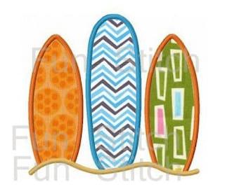 summer surf surfboards applique machine embroidery design