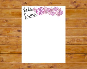 Digital Download: Hello Friend Floral Letter Writing Stationery Printable for Writers, Pen Pals, Mail Artists, Creatives, & Letter Writers