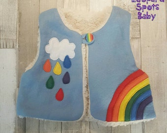 Rainbow gilet body warmer - wool blend with applique - made to order NB - 4yrs